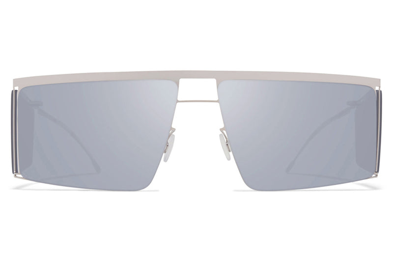 MYKITA x Helmut Lang - HL001 Sunglasses Shiny Silver/Soft Grey Sides with Silver Flash Lenses