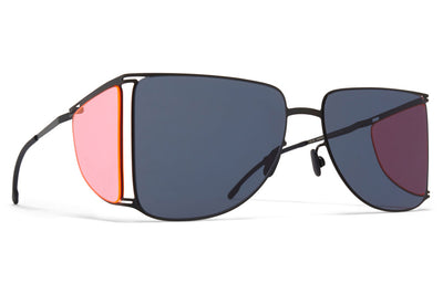 MYKITA x Helmut Lang - HL002 Sunglasses Black/Fluo Pink Sides with Dark Grey Solid Lenses