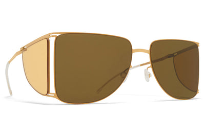 MYKITA x Helmut Lang - HL002 Sunglasses Frosted Gold/Jelly Yellow Sides with Raw Brown Solid Lenses