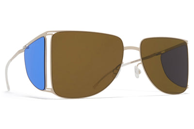 MYKITA x Helmut Lang - HL002 Sunglasses Light Warm Grey/Super Blue Sides with Raw Brown Solid Lenses