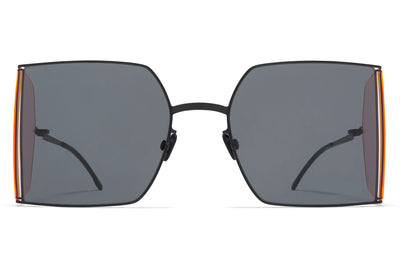 MYKITA x Helmut Lang - HL003 Sunglasses Black/Fluo Pink Sides with Dark Grey Solid Lenses