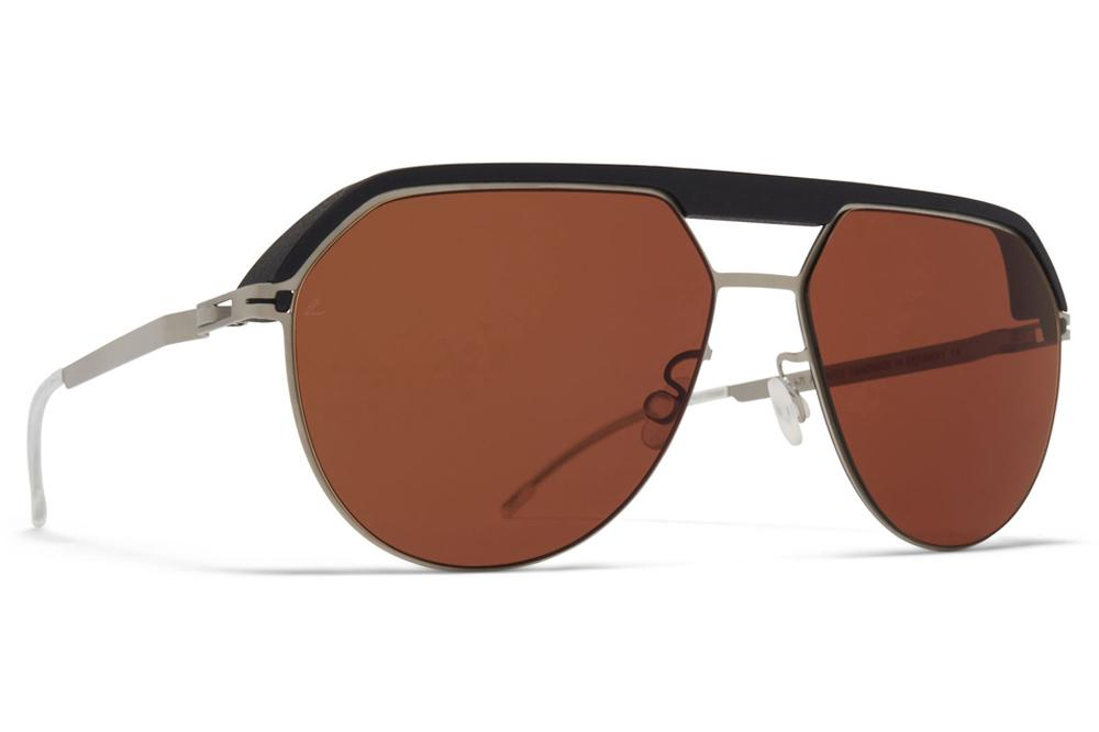 MYKITA | Leica - ML02 Sunglasses MH49 - Pitch Black/Matte Silver with Leica Amber Solid Lenses