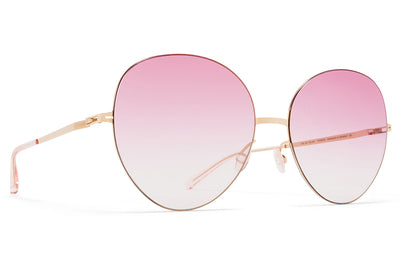 MYKITA LESSRIM - Aimi Sunglasses Champagne Gold with Jelly Pink Gradient Lenses