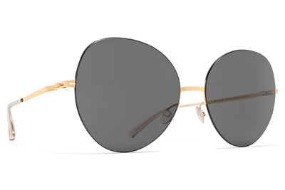 MYKITA LESSRIM - Aimi Sunglasses Gold/Black with Dark Grey Solid Lenses