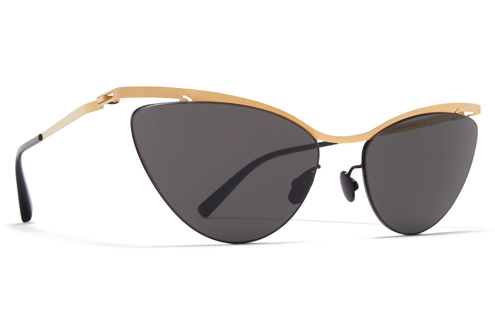 MYKITA LESSRIM - Mizuho Sunglasses Gold/Black with Dark Grey Solid Lenses