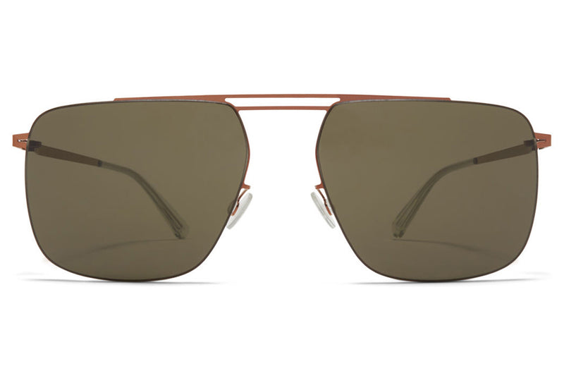 MYKITA LESSRIM - Raidon Sunglasses Shiny Copper with Raw Green Solid Lenses