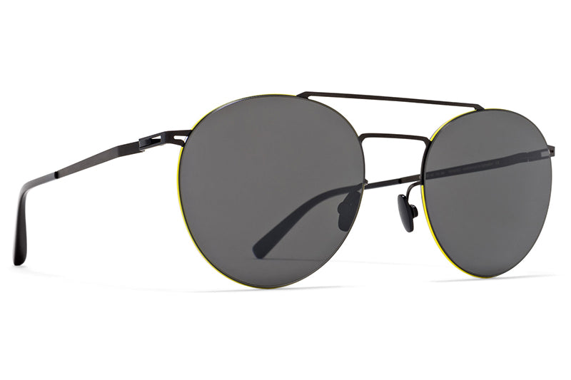 MYKITA LESSRIM - Ryo Sunglasses Black/Neon Yellow with Dark Grey Solid Lenses
