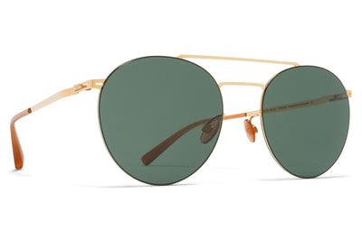 MYKITA LESSRIM - Ryo Sunglasses Glossy Gold with Dark Green Solid Lenses
