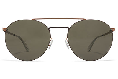 MYKITA LESSRIM - Ryo Sunglasses Shiny Copper with Raw Green Solid Lenses