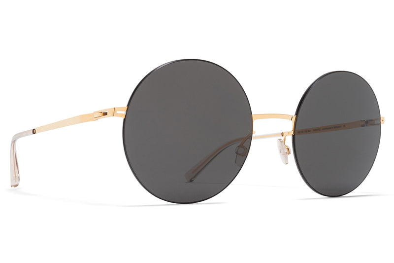 MYKITA LESSRIM - Yoko Sunglasses Gold/Black with Dark Grey Solid Lenses