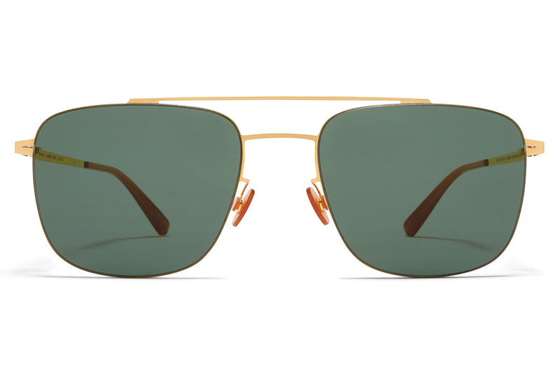 MYKITA LESSRIM - Yuuto Sunglasses Glossy Gold with Dark Green Solid Lenses