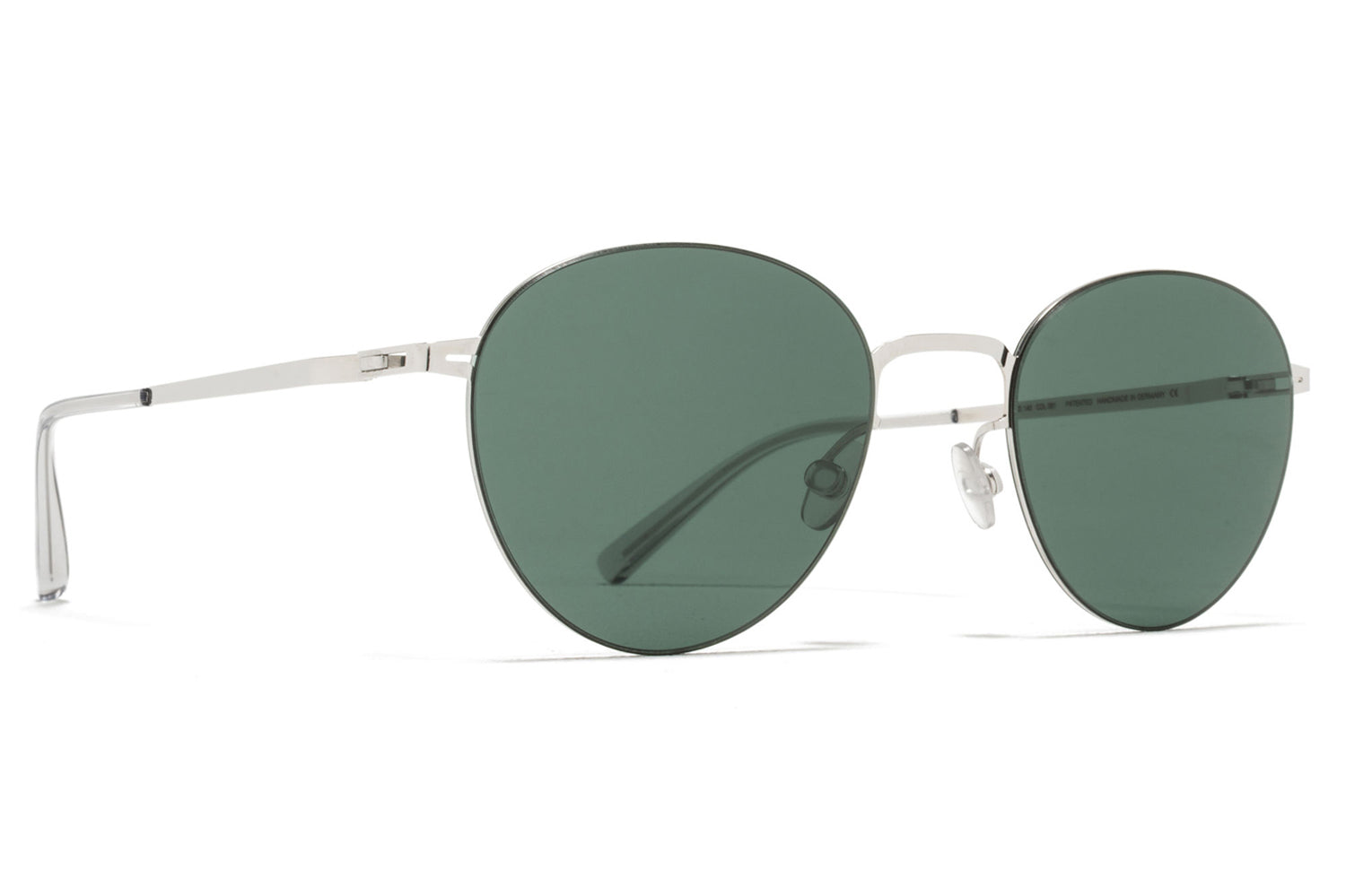 MYKITA LESSRIM - Eito Sunglasses Shiny Silver with Dark Green Solid Lenses