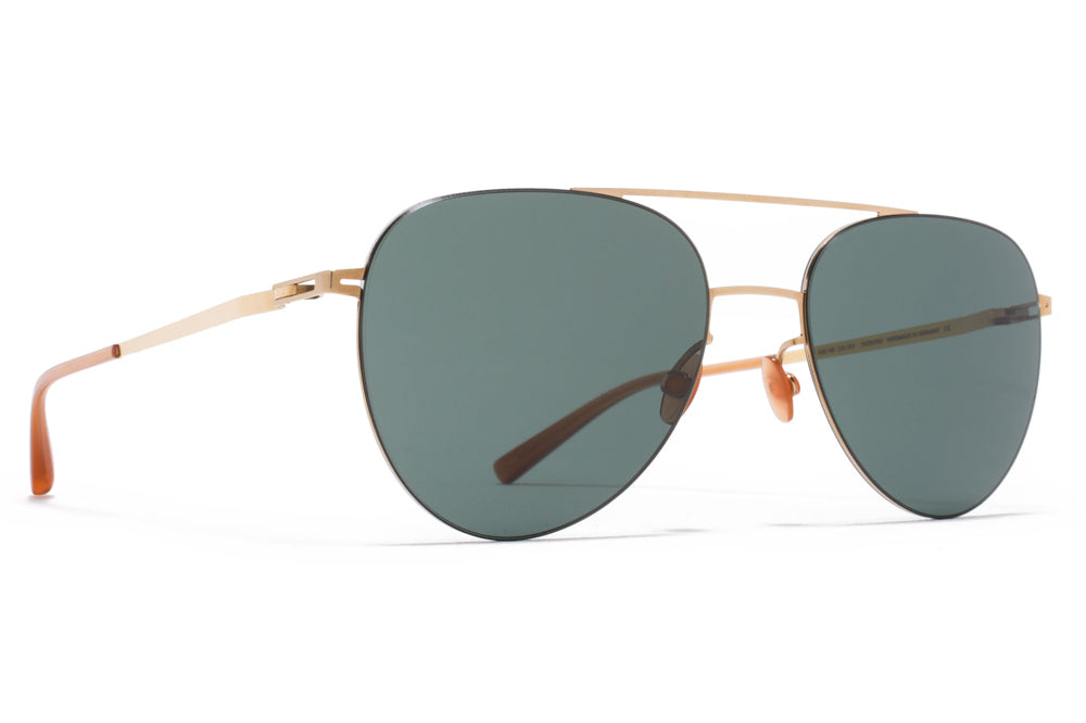 MYKITA LESSRIM - Jun Sunglasses Glossy Gold with Dark Green Solid Lenses
