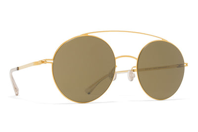 MYKITA Sunglasses - Aira Glossy Gold with Raw Brown Solid Lenses