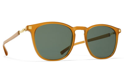 MYKITA Sunglasses -  Aluki Dark Amber/Glossy Gold with Dark Green Solid Lenses
