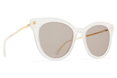 MYKITA Sunglasses - Anik Lemon Sorbet/Glossy Gold with Smoke Brown Solid Lenses