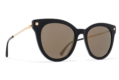 MYKITA Sunglasses - Anik Black/Glossy Gold with Brilliant Grey Solid Lenses
