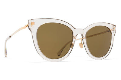 MYKITA Sunglasses - Anik with Nose Pads Champagne/Glossy Gold with Raw Brown Solid Lenses