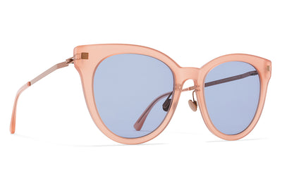MYKITA Sunglasses - Anik with Nose Pads Rhubarb Sorbet with Sky Blue Solid Lenses