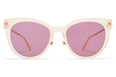 MYKITA Sunglasses - Anik with Nose Pads Melon Sorbet/Champagne Gold with Plum Solid Lenses