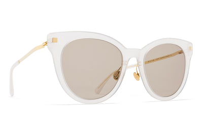 MYKITA Sunglasses - Anik with Nose Pads Lemon Sorbet/Glossy Gold with Smoke Brown Solid Lenses