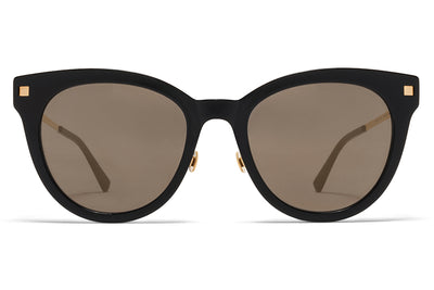 MYKITA Sunglasses - Anik with Nose Pads Black/Glossy Gold with Brilliant Grey Solid Lenses