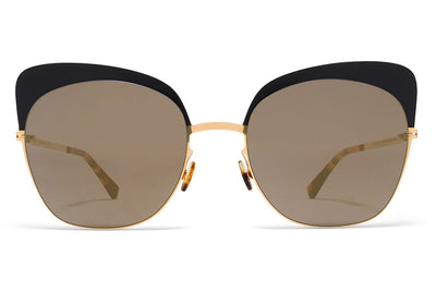 MYKITA Sunglasses - Anneli Gold/Black with Brilliant Grey Solid Lenses