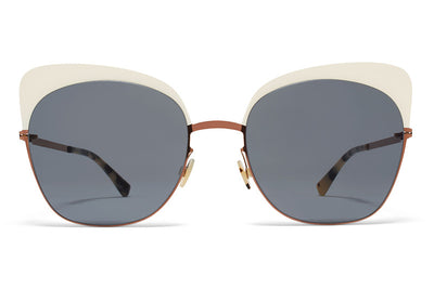 MYKITA Sunglasses - Anneli Shiny Copper/Off White with Dark Blue Solid Lenses