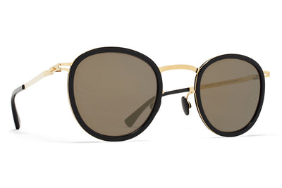 MYKITA Sunglasses - Antti Glossy Gold/Black with Brilliant Grey Solid Lenses