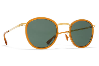 MYKITA Sunglasses - Antti Glossy Gold/Dark Amber with Dark Green Solid Lenses
