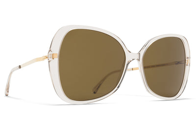 MYKITA - Apaay Sunglasses Champagne/Glossy Gold with Raw Brown Solid Lenses