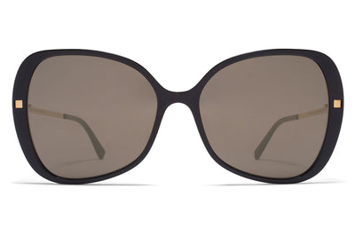 MYKITA - Apaay Sunglasses Black/Glossy Gold with Brilliant Grey Solid Lenses