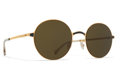 MYKITA - Blu Sunglasses Gold/Indigo with Raw Green Solid Lenses