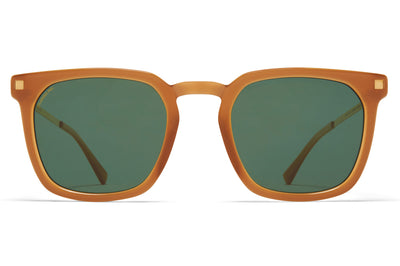 MYKITA - Borga Sunglasses Brown/Dark Brown/Glossy Gold with Raw Brown Solid Lenses with Polarized Pro Green 15 Lenses