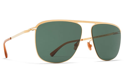 MYKITA - Brian Sunglasses Glossy Gold with Dark Green Solid Lenses