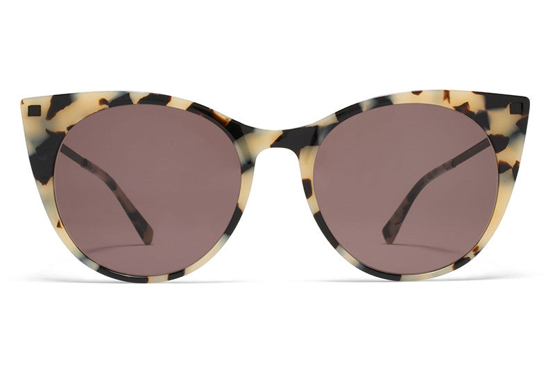 MYKITA Sunglasses - Desna Creamy Cookie/Black with Brown Solid Lenses