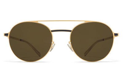 MYKITA - Eri Sunglasses Gold/Indigo with Raw Green Solid Lenses