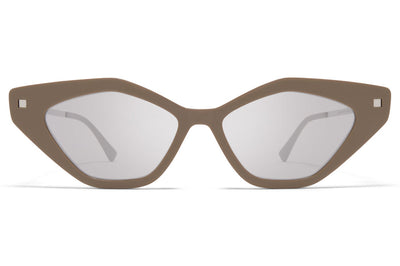 MYKITA - Gapi Sunglasses Brown Grey/Shiny Silver with Warm Grey Flash Lenses