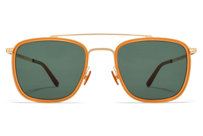 MYKITA Sunglasses - Hanno Glossy Gold/Dark Amber with Dark Green Solid Lenses