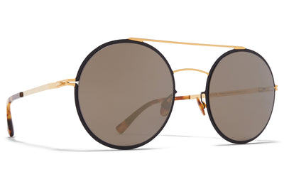 MYKITA - Helena Sunglasses Gold/Black with Brilliant Grey Solid Lenses