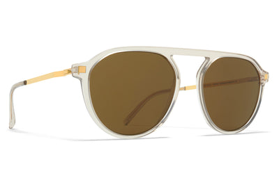 MYKITA - Helgi Sunglasses Champagne/Glossy Gold with Raw Brown Solid Lenses