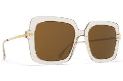 MYKITA - Hesta Sunglasses Champagne/Glossy Gold with Raw Brown Solid Lenses