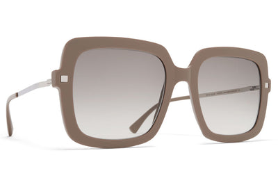 MYKITA - Hesta Sunglasses Brown Grey/Shiny Silver with Original Grey Gradient Lenses
