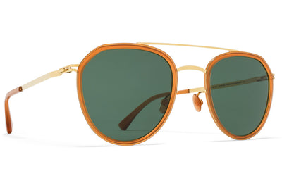 Glossy Gold/Dark Amber with Dark Green Solid Lenses