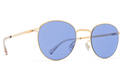 MYKITA - Jonte Sunglasses Glossy Gold with Super Blue Solid Lenses
