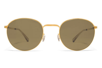 MYKITA Sunglasses - Jonte Glossy Gold with Raw Brown Solid Lenses