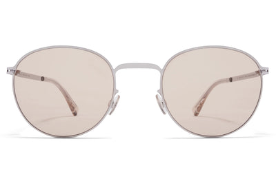 MYKITA - Jonte Sunglasses Shiny Silver with Soft Brown Solid Lenses