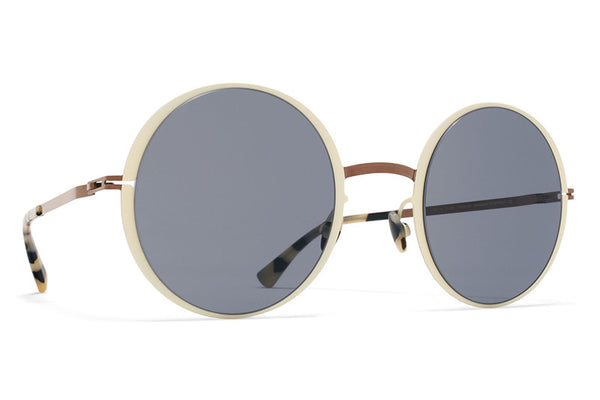 MYKITA Sunglasses - Joona Shiny Copper/Off White with Dark Blue Solid Lenses
