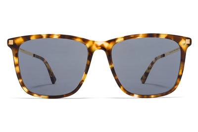 MYKITA Sunglasses - Jovva Cocoa Sprinkles/Glossy Gold with Dark Blue Solid Lenses