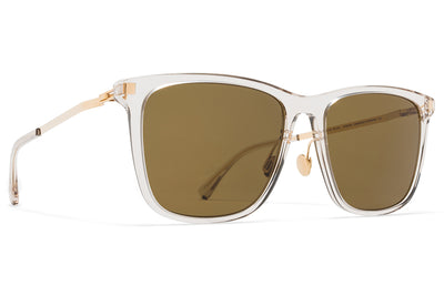 MYKITA Sunglasses - Jovva with Nose Pads Champagne/Glossy Gold with Raw Brown Solid Lenses